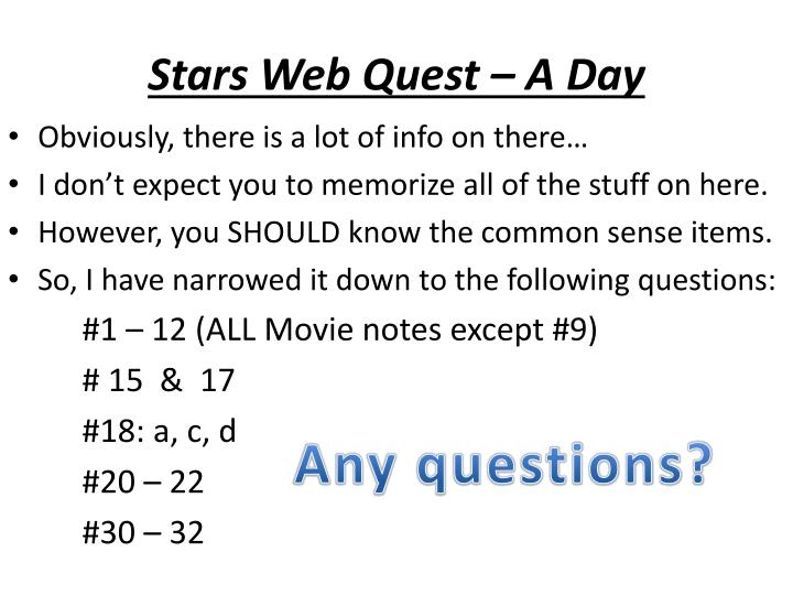Stars Web Quest – A Day
