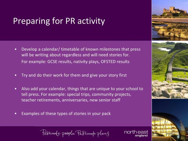 Preparing for PR activity