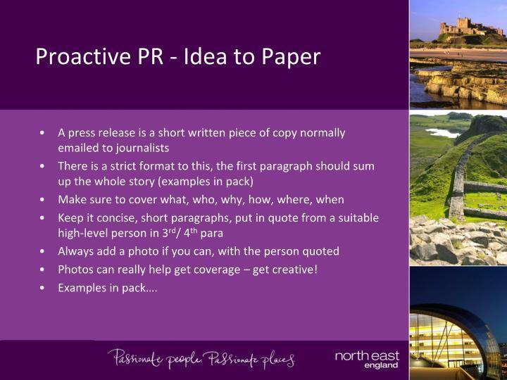 Proactive PR - Idea to Paper