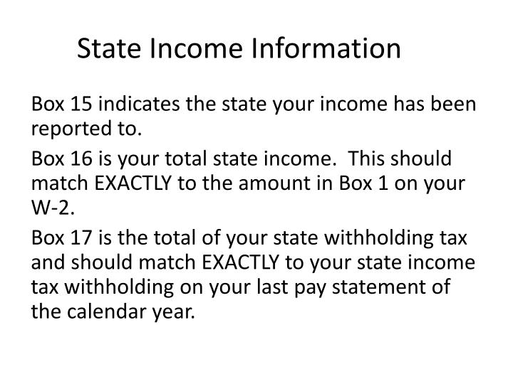 State Income Information
