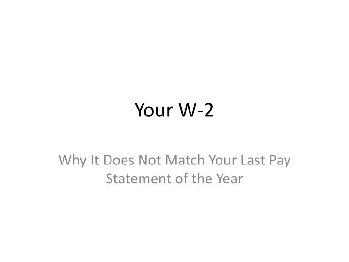 your w 2