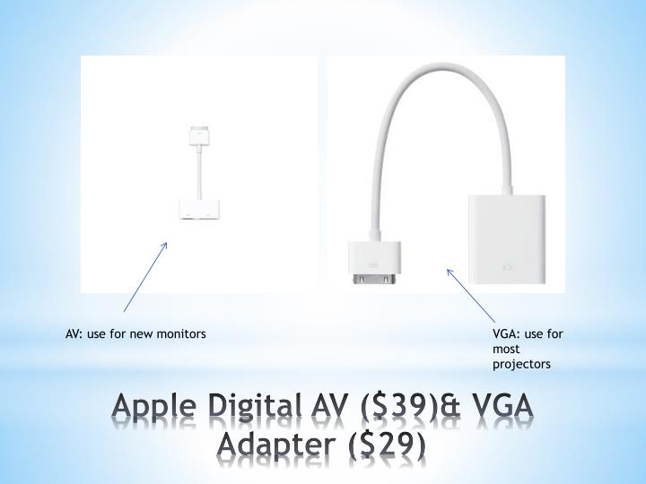 Apple Digital AV ($39)& VGA Adapter ($29)