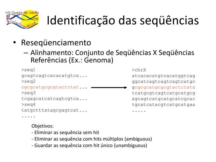 Identificação das seqüências