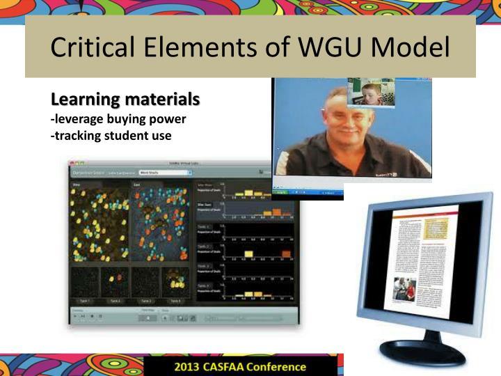 Critical Elements of WGU Model