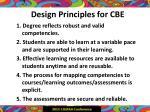 design principles for cbe