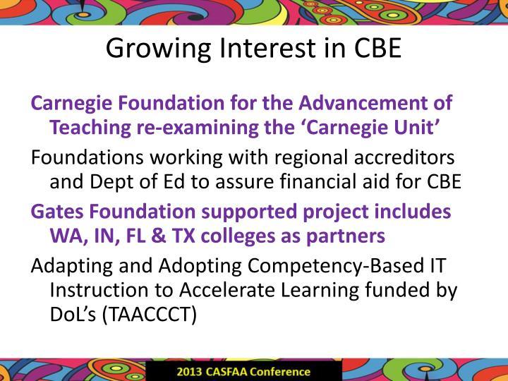 Growing Interest in CBE