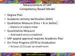 measurement of sap competency based model