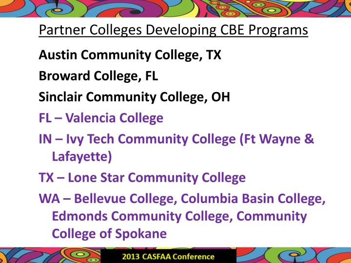 Partner Colleges Developing CBE Programs