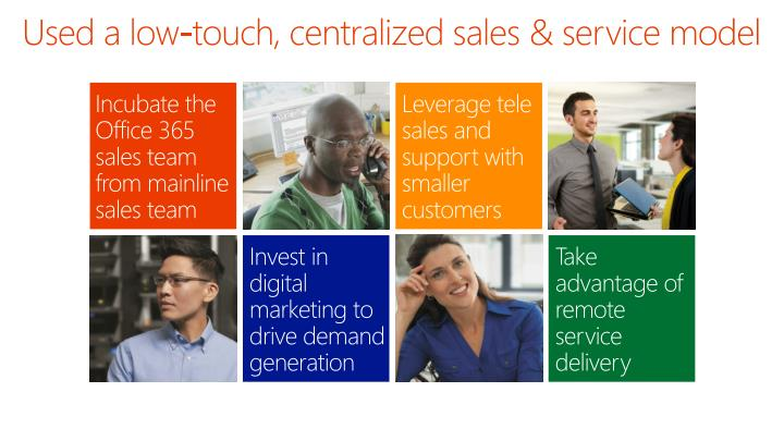 Used a low-touch, centralized sales & service model