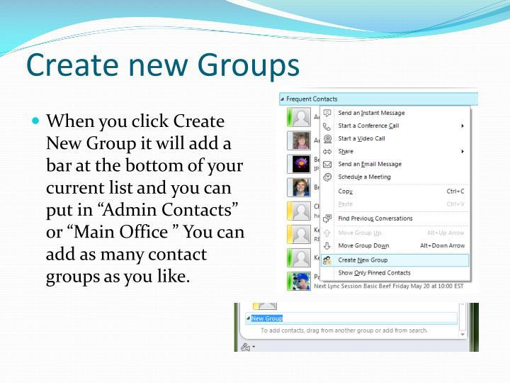 Create new Groups