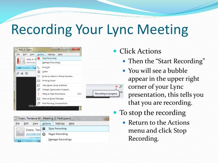 Recording Your Lync Meeting