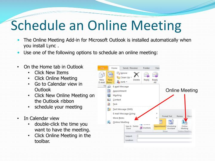 Schedule an Online Meeting