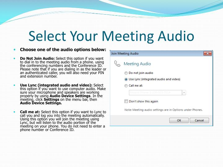 Select Your Meeting Audio