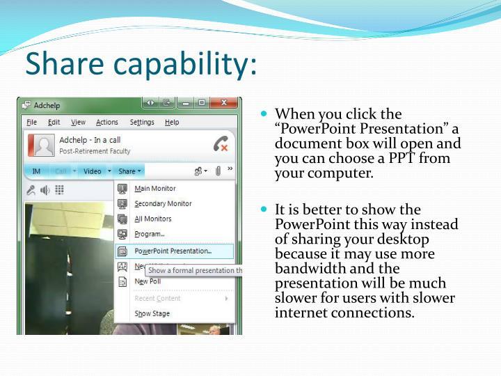 Share capability: