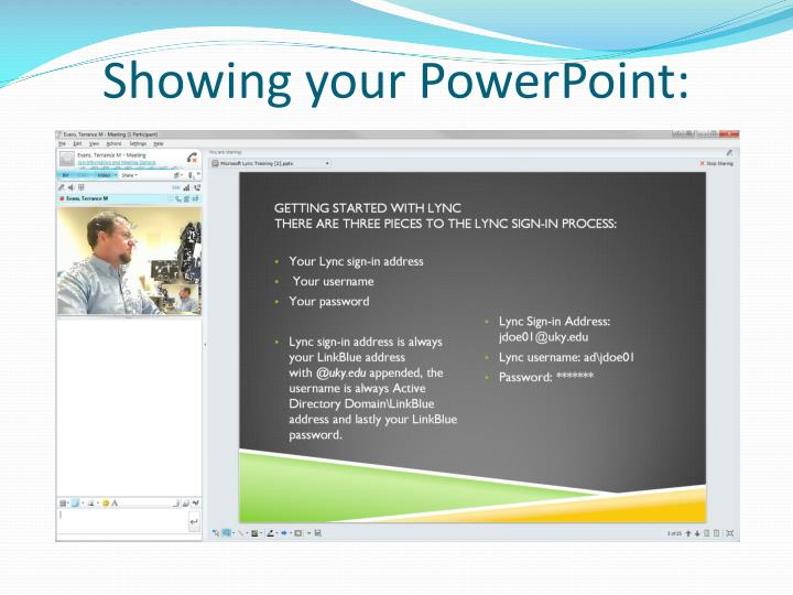 Showing your PowerPoint