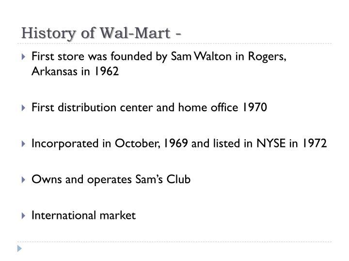 History of Wal-Mart -