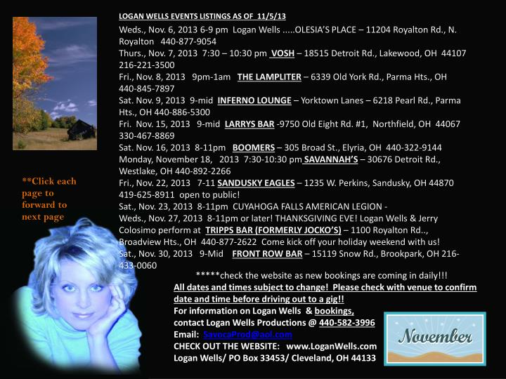 LOGAN WELLS EVENTS LISTINGS AS OF