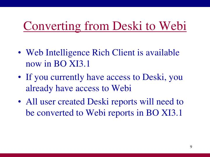 Converting from Deski to Webi