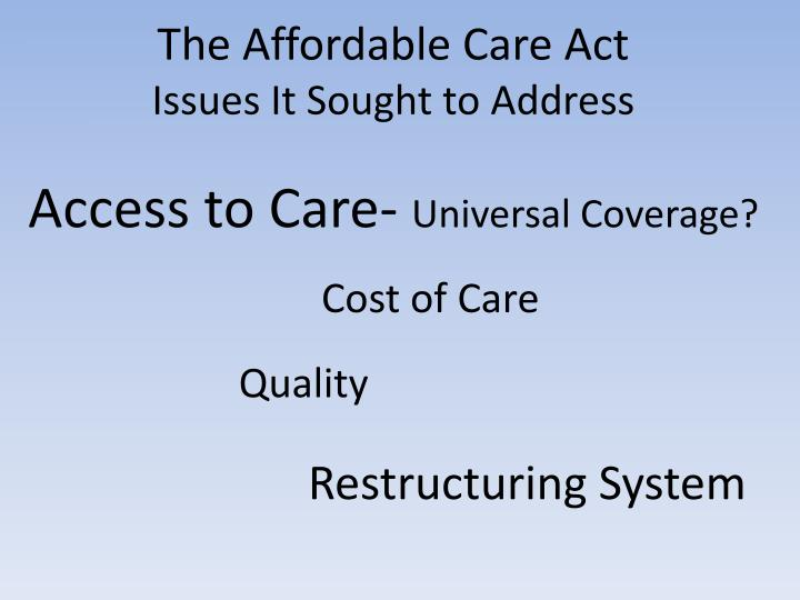 The Affordable Care Act
