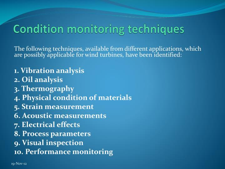 Condition monitoring techniques