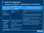 2 technical approach summary of outputs ghg emission calculations