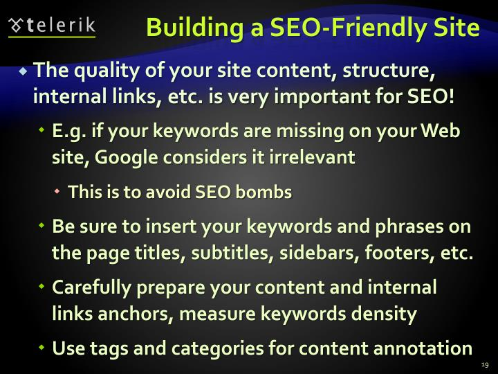 Building a SEO-Friendly Site