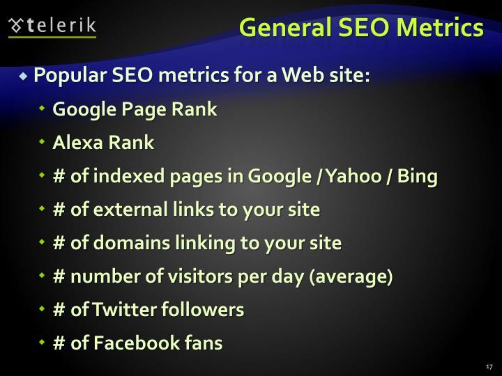 General SEO Metrics