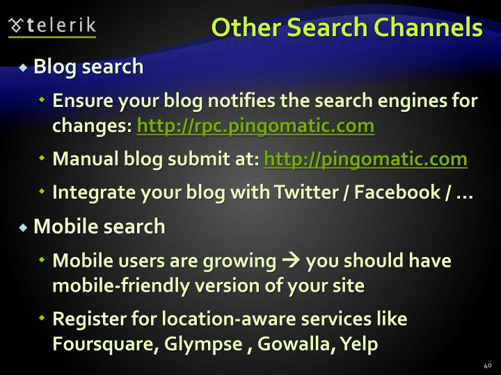 Other Search Channels