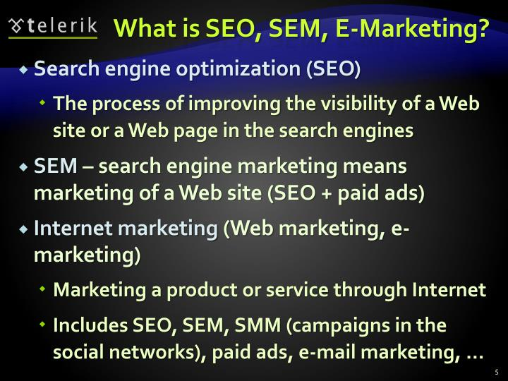 What is SEO, SEM, E-Marketing?