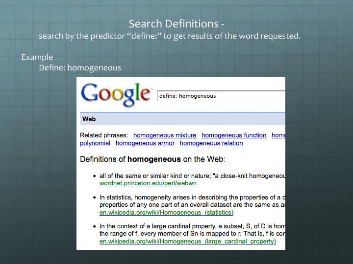 Search Definitions -