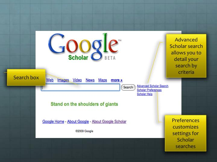 Advanced Scholar search allows you to detail your search by criteria
