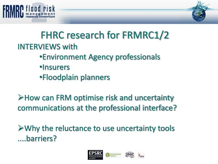 FHRC research for FRMRC1/2