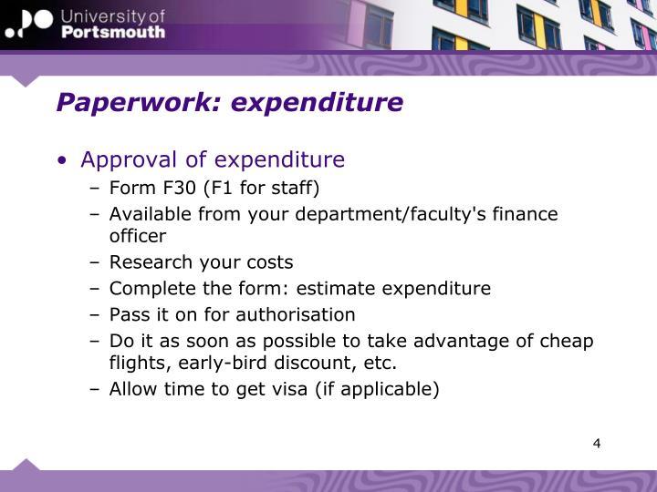 Paperwork: expenditure