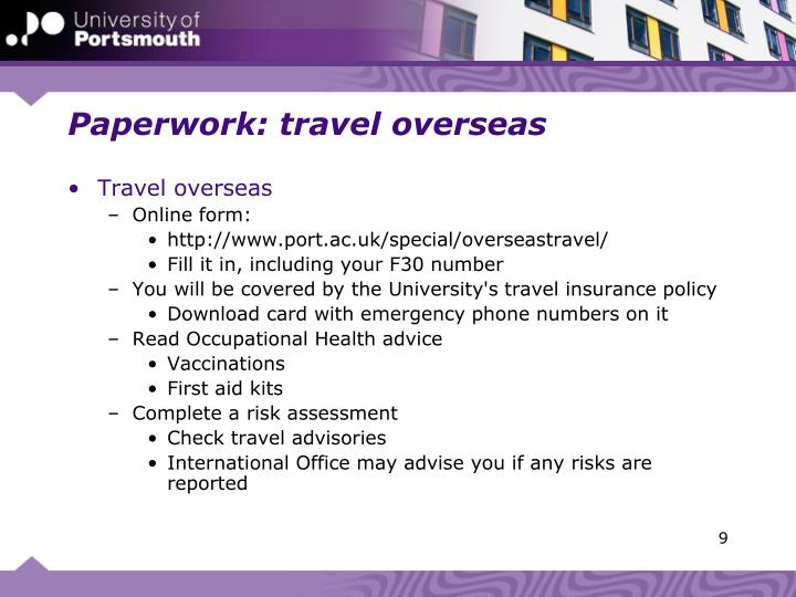 Paperwork: travel overseas
