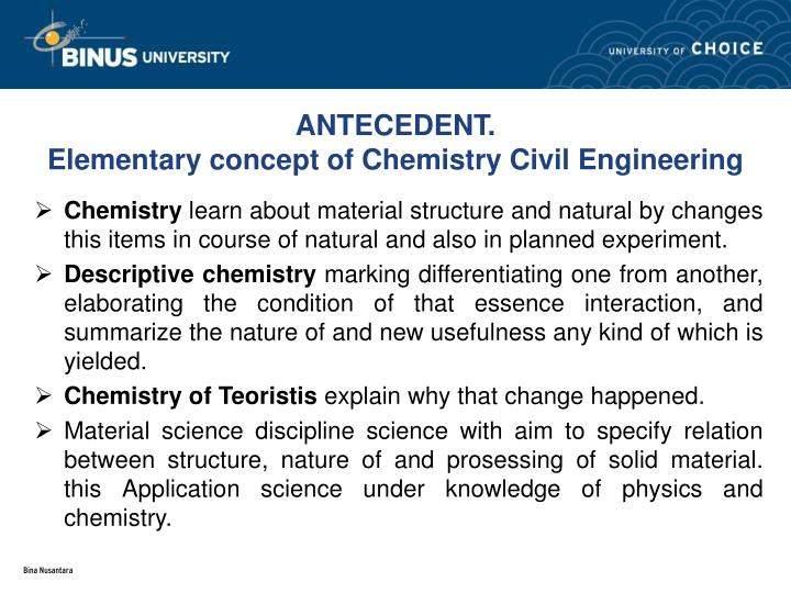 Antecedent elementary concept of chemistry civil engineering