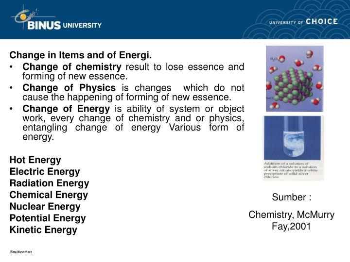 Change in Items and of Energi.