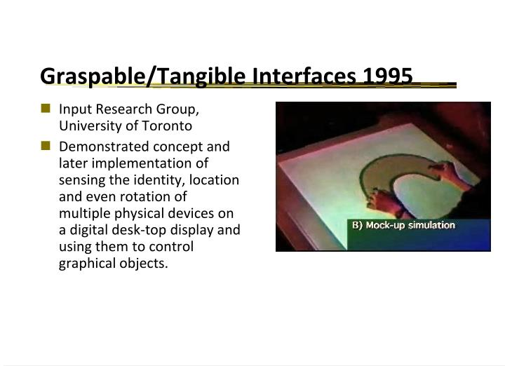 Graspable/Tangible Interfaces 1995
