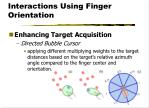 interactions using finger orientation