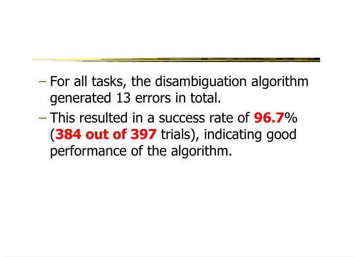 For all tasks, the disambiguation algorithm generated 13 errors in total.