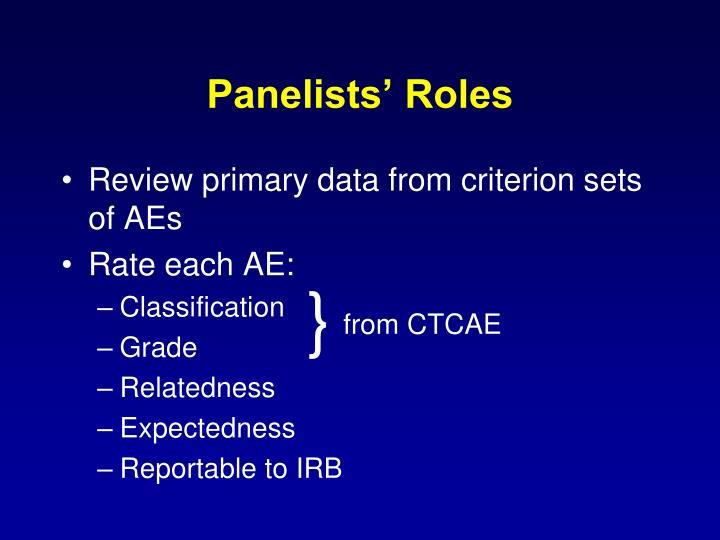 Panelists' Roles