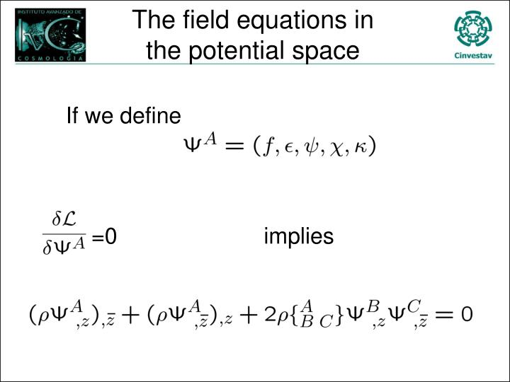 The field equations in the potential space