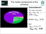 the matter components of the universe