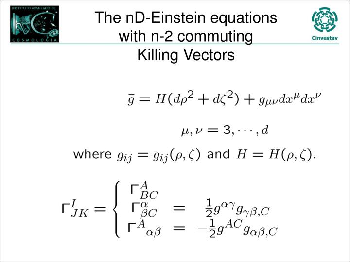 The nd einstein equations with n 2 commuting killing vectors
