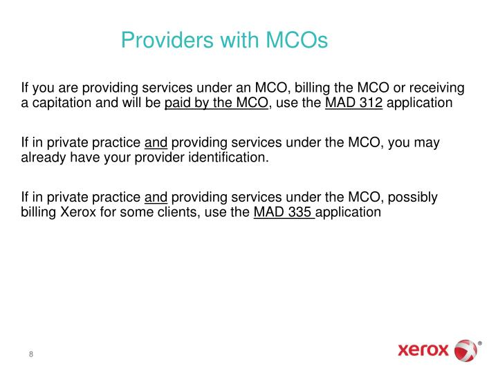 Providers with MCOs