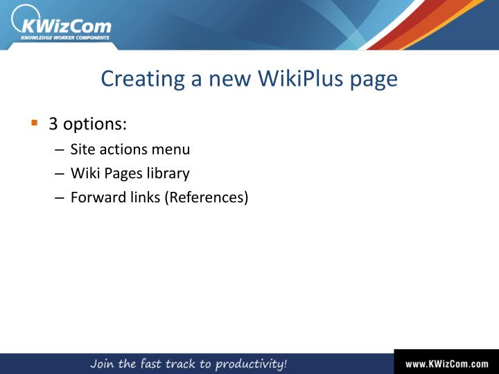 Creating a new WikiPlus page