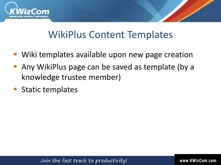 WikiPlus Content Templates