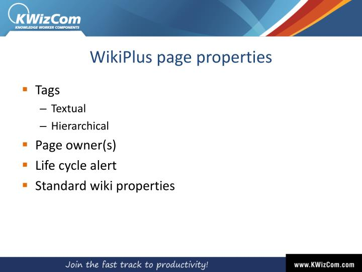 WikiPlus page properties