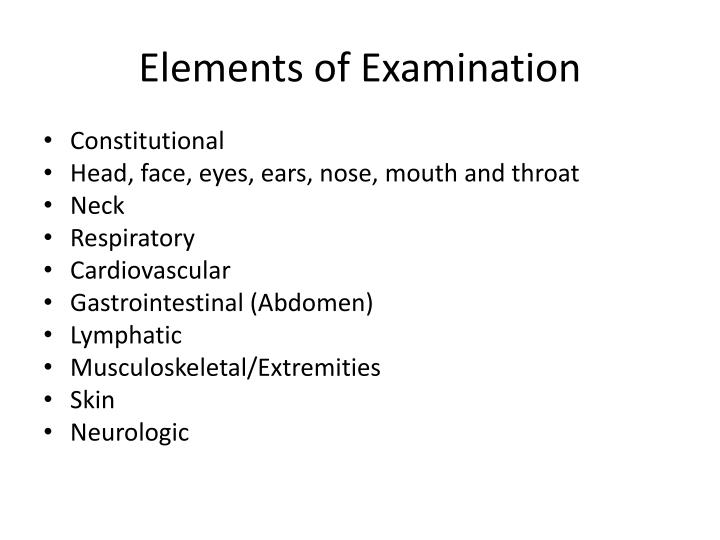 Elements of Examination