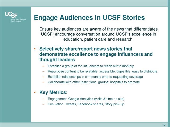 Engage Audiences in UCSF Stories