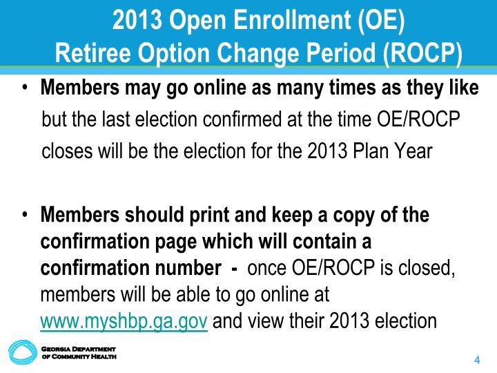 2013 Open Enrollment (OE)